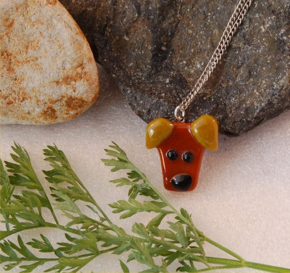 Dog, fused glass pendant