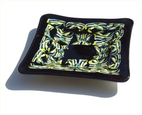 Fused glass square pattern bar plate