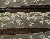 Three Pieces Antique Embroidered Net Lace Victorian Mechlin