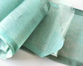 Antique Organdy Wide Aqua Sheer Open Weave Sash Ribbon Yardage Millinery Dolls Costume Sewing