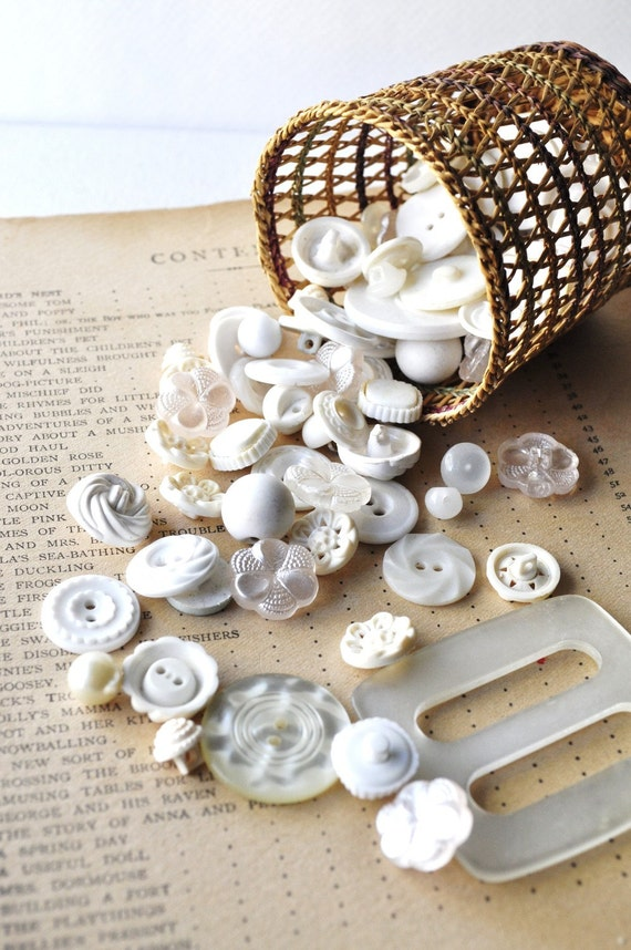 Basket of White Plastic Vintage Buttons Textured
