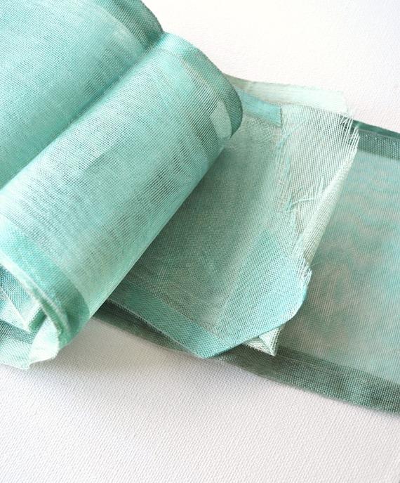 Antique Organdy Wide Aqua Sheer Open Weave Sash Ribbon Yardage Millinery Dolls Costume Sewing