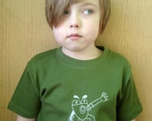 sonic frog -- hand silk screened tee, youth size 2-12