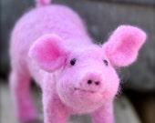 Needle Felted Pink Pig. Needle felted animal