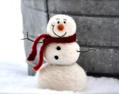 Needle Felting Kit - Snowman DIY Kit - everything needed to make a needle felted snowman for Beginners - Easy Felting Project