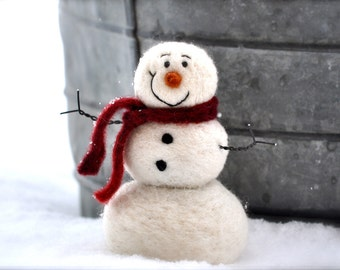 Snowman DIY Kit - Needle Felting Kit - Snowman Kit - Christmas Kit - Make Your Own - Christmas Decoration - Craft Kit - Christmas Craft