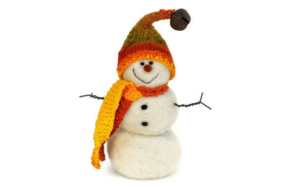 Holiday Snowman -Needle Felted wool Snowmen wearing a hand spun, hand knit hat and scarf 83