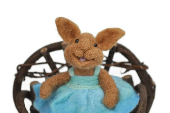 Needle Felted wool BUNNY RABBIT wearing a blue wool dress sitting in her wood chair