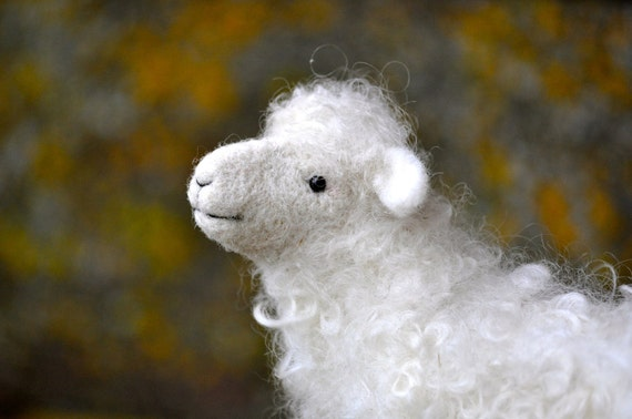 Needle Felted Wool Sheep Sculpture - Needle Felted Animal - Lamb