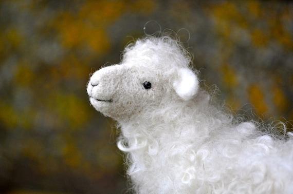 Needle Felted Wool Sheep Sculpture - Needle Felted Animal - Lamb
