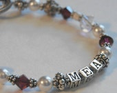 Personalized Name and Birthstone Bracelet with Swarovski Crystal, Bali Beads and Sterling Silver