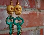 Skull and Key Earrings