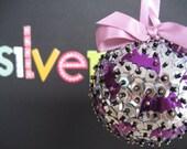 Silver and Purple Bat Ornament