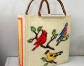 vintage 70s Song Bird Knitting Tote Bag
