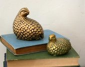 vintage Pair of Faux Brass Quails- Momma and Baby