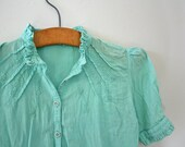 vintage 80s Upcycled Hand Dyed Mint Green Indian Gauze Floral Embroidered Blouse