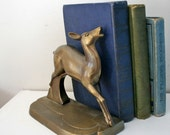 vintage 30s Frankart Brass Doe a Deer Bookend