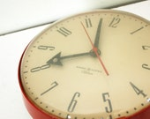 vintage 50s Cherry Red General Electric Telechron Electric Wall Clock