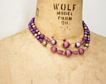 vintage 50s Double Strand Amethyst Faux Stone Beaded Necklace