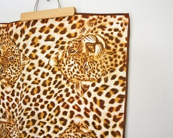 vintage 70s A Leopard Can't Change Her Spots Square Scarf