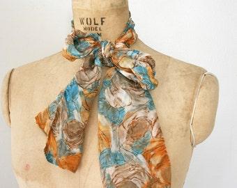 vintage 60s Butternut Squash Orange and Teal Blue Sheer Floral Neck Tie