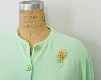 vintage 60s Celery Green Ladies Button Down Cardigan with Costume Flower Pin