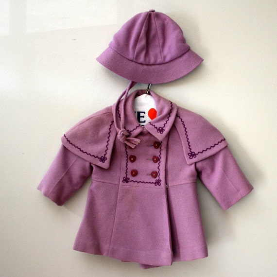 Vintage 60s Child's Double Breasted Rothschild Lavender Hearts Coat and Matching Hat- Size 6 Months