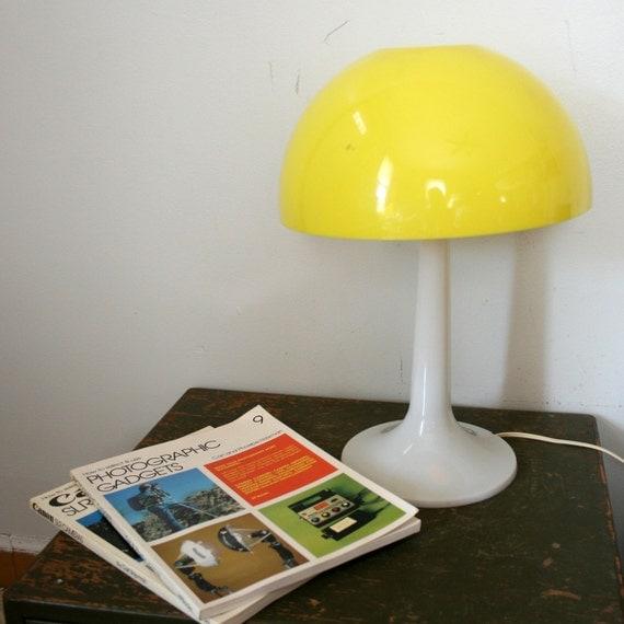 Vintage 70s Modern Mushroom Sunny Yellow Plastic Lamp