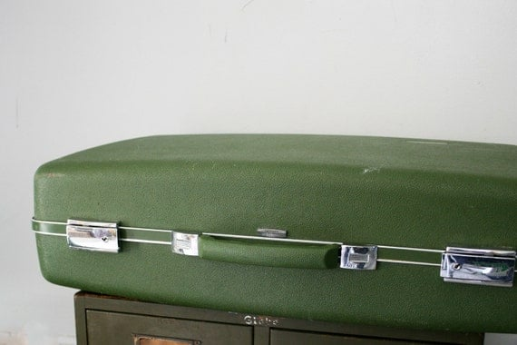 vintage 60s Large Olive Green Forecast Hard Suitcase
