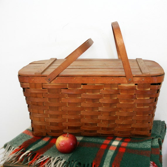 vintage 50s Large Wooden Picnic Basket with Flatware, Plastic Cups and Plates