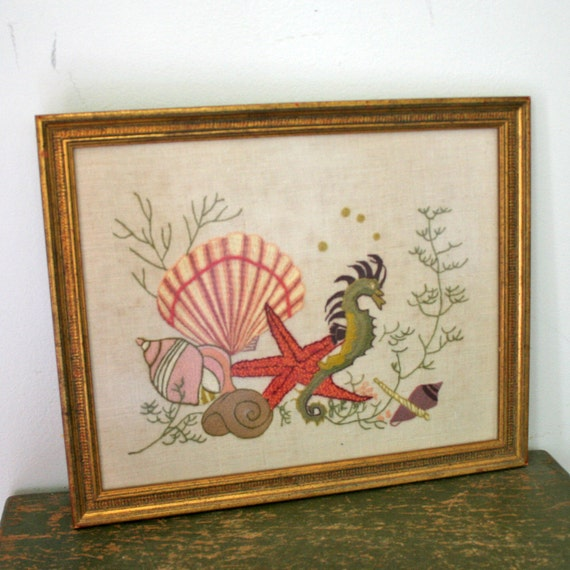 vintage 60s Under The Sea Seahorse and Shells Crewel Wall Hanging