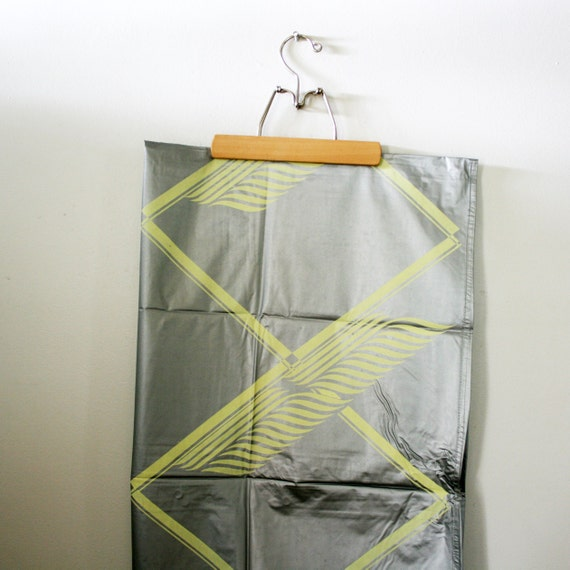 vintage 50s Silver and Yellow Feather Diamond Pattern Shower Curtain