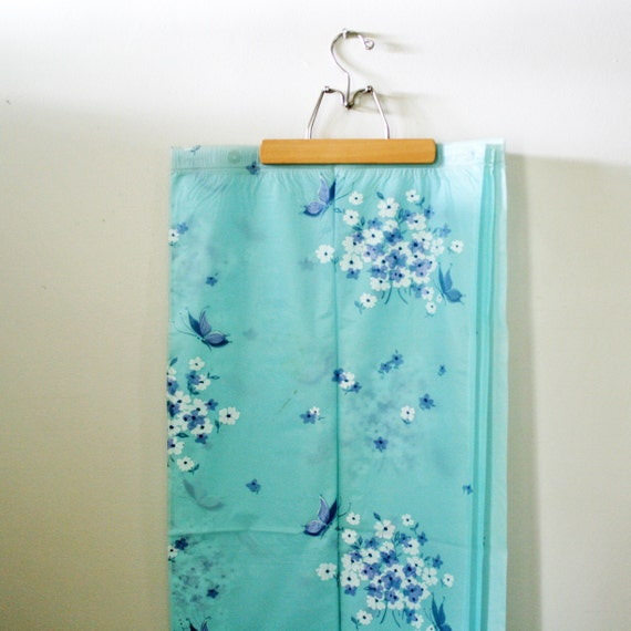 vintage 50s Baby Blue Butterflies and Forget Me Nots Vinyl Shower Curtain