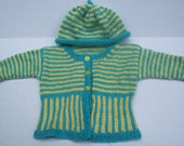 Baby Sweater hipknitta's Blue and Yellow Happily-Ever-Striped Baby Sweater and Hat Set