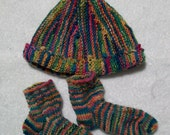 Very Funky Handknitted Baby Hat and Socks Set