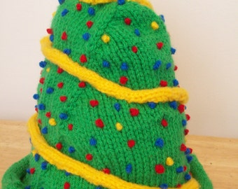 Green, Yellow, Red and Blue Toddler Christmas Tree Hat Handknitted by hipknitta