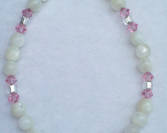 Pink Crystal and White Vintage Bead It's a Girl Birth Announcement Bracelet Gift for New Mom