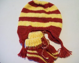 Baby Earflap Hat, Baby Hat, Red and Yellow  Baby Earflap hat with Matching Booties Handknitted Gift for Baby Boy or Girl by hipknitta