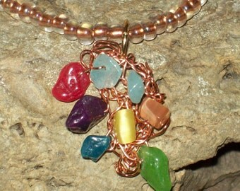 hipknitta's Multicolored (Red, Blue, Purple, Green, Yellow, Peach) Stone Chip Handknitted Necklace