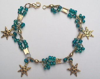 Blue and Gold Star Charm Bracelet Blue Beads and Gold Star Charm Bracelet Gift for Her