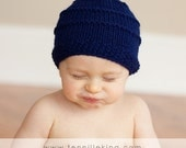 Hand Knit Baby Hat Blueberry Topper