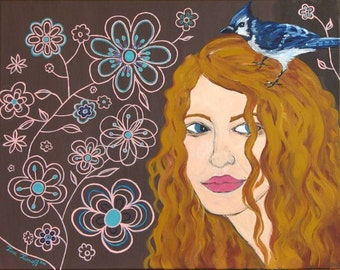 Hope is the Thing with Feathers - Original Acrylic Painting, 20x16 // SALE 15% OFF