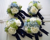 Package Classic Navy and White Realtouch Rose and Silk Blue Hydrangea Bridal and Bridesmaids Bouquet Set