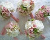 Realtouch Calla Lillies Blush Pink  Green  and Green Hydrangeas and Realtouch Rose Bridal and Bridesmaids Bouquet Set