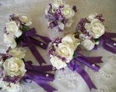 Silk Flower Bouquet of Silk Lilacs and Realtouch Rose Bridal Bridesmaids and Boutonniere Destination Wedding  Bouquet Set