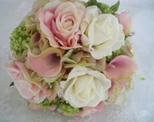 Silk Flower Roses and Pink Realtouch Calla Lilies Bouquet Set