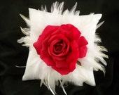 Red Silk Rose and White  Hackle feather Ringbearer Pillow