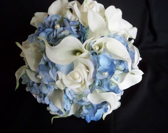 Blue Hydrangea and White Realtouch Calla Lilies and Roses accented with Pearls Bridal Beach Bouquet Set