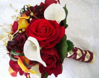Vintage Fall Autumn Red Burgundy Orange Destination Bridal  Boutonniere Exotic Realtouch Calla Lily Bouquet Set