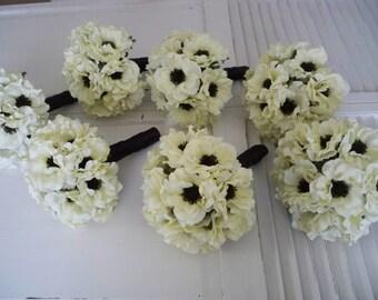 Light Ivory Anemone with Inky Black Centers .....14 Piece Silk bridal Bouquet Set  Bridesmaids Wedding Bouquet